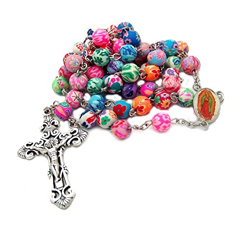 (Amazon Selling Soft Ceramic Necklace 8 mm Color Round Bead Cross Christian Catholic Men's And Women's Universal Necklace)