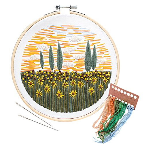 Full Needle - Unime Embroidery Starter Kit with Pattern Full Range Embroidery Kit with Embroidery Cloth, Embroidery Hoop, Color Threads, Needles (Flower field02)