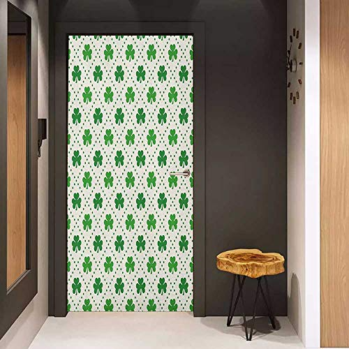 - Door Sticker Irish Four Leaf Shamrock Clover Flowers with Dotted Dashed Lines National Culture Symbol Glass Film for Home Office W32 x H80 Green White