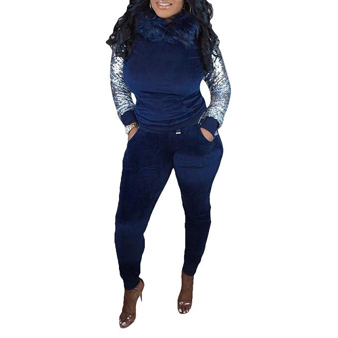 Chándal Mujer Jogging Suave Cómodo Terciopelo Lentejuelas Trajes De 2  Piezas Sudadera con Capucha con Felpa Y Pantalones Largos Set 3 Colores  S-2Xl  ... eb3ceb9c029b
