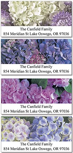 Hydrangea Self-Adhesive, Flat-Sheet Deluxe Address Labels (4 Designs)