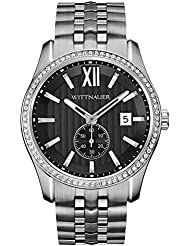 Wittnauer WN3031 Crystal Pave Bezel Stainless Steel Black Dial Mens Watch