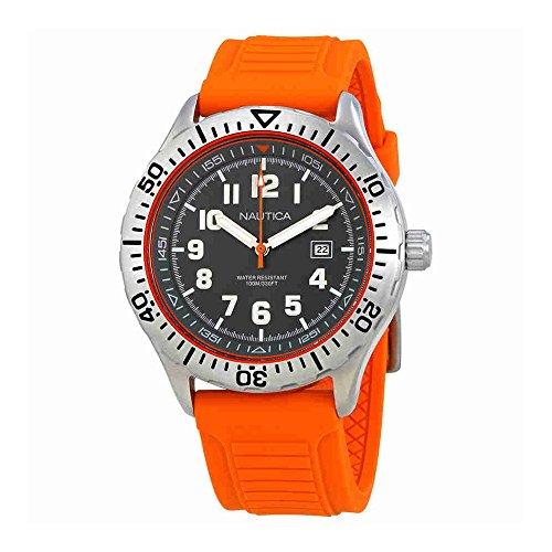 Nautica NSR 105 Grey Dial Orange Silicone Mens Watch NAD12537G