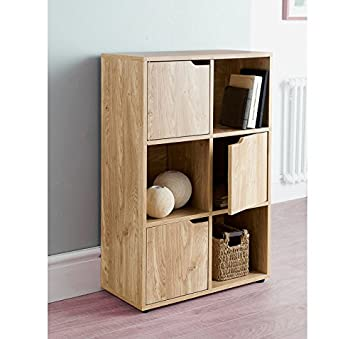 new oak effect 6 cube storage unit shelving unit bookcase cube storage kids toys storage