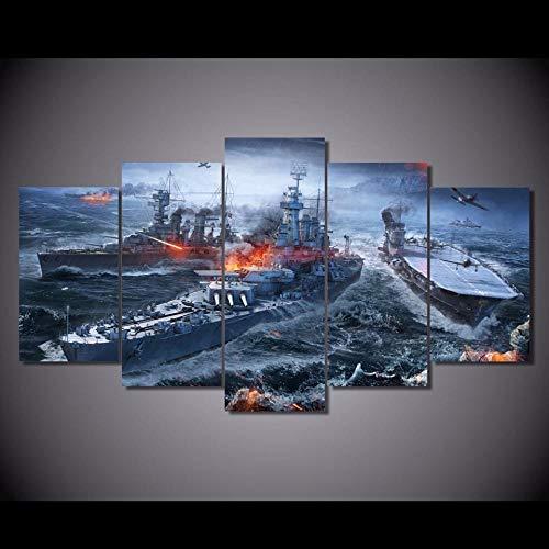 AIJOAN-Canvas painting Cuadro En Lienzo Cuadro Moderno En Lienzo 5 Piezas Pintura Al Oleo Inyeccion De Tinta Pintura Artesanal Wulian World War Ebay