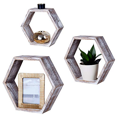 Rustic Hexagon Shelves - Wall Mounted Floating Wood Honeycomb Shelves - Geometric Display Hexagon Shelf for Bedroom Living Room or Kitchen - Farmhouse Home Decor Shelving Set