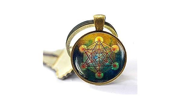 Metatron Llavero con forma de cubo de metatron joyer/ía para hombre llavero de geometr/ía sagrada collar geom/étrico sagrado llavero para hombre