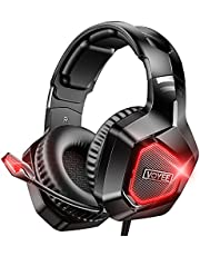 VOYEE Gaming Headset Compatible with Xbox/PC/PS5/PS4, Wired Noise Canceling Over Ear Headphone with Mic/Surround Sound/LED Light Compatible with Switch/PC/PS5/PS4/Xbox One/Laptop/Tablet - Black Red