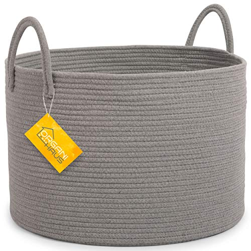 OrganiHaus XXL Extra Large Grey Cotton Rope Basket | 20