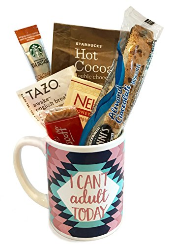 Starbucks Coffee Mug Gift Sets WITH Via Coffee Hot Cocoa Tea and MORE - Get Well Soon - Birthday Gift - Thinking of You Gift - DESIGNED FOR HER or (Chocolate Basket Set)