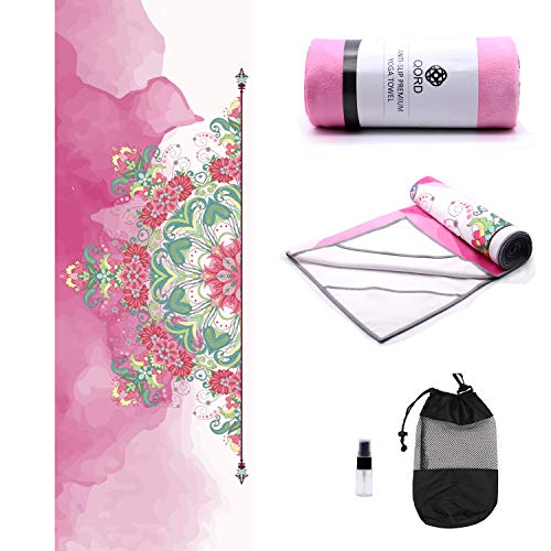 Yoga Towel,Hot Yoga Mat Towel with Corner Pockets Design - Sweat Absorbent Non-Slip for Hot Yoga,Bikram and Pilates(Anchor Fit Corners,Pink Flower)