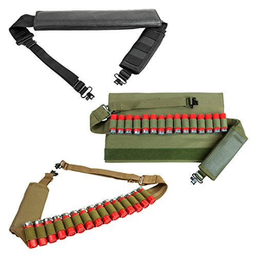 - Padded Shoulder 2 Two Point Shotgun Bandolier Sling Holds 15 Shotshells Sling Swivels Elastic Band 10 12 20 Gauge GA (Black)