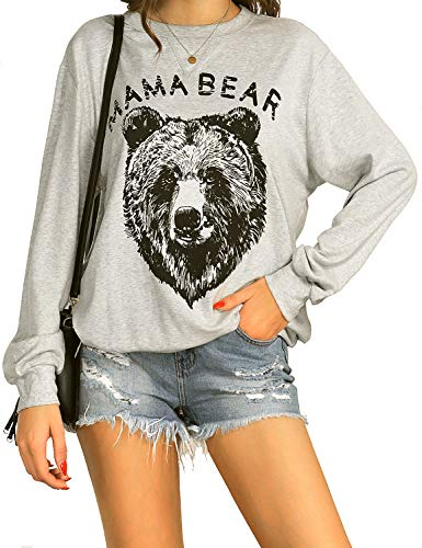 Blooming Jelly Women's Cute Long Sleeve Top Loose Mama Bear Crewneck Pullover Sweatshirt (Large(US 10), Grey 3)