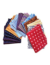 MENDENG Men's 12 Pack Paisley Plaid Polka Dot Handkerchief Vintage Pocket Square