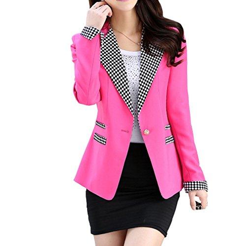 Aro Lora Women's Long Sleeve Plaid Lapel One Button Jacket Blazer Suit US 6-8 (One Button Plaid Jacket)
