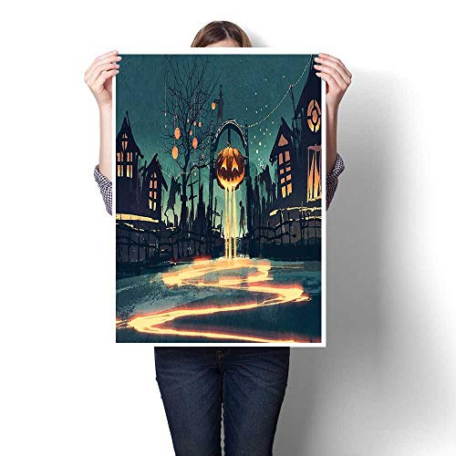 1 Piece Wall Art Painting,House Decor Halloween Theme Night Pumpkin and Haunted House Ghost Town Artful Teal Oils,Prints On Canvas Landscape Pictures Oil for Home,32