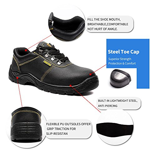 Ultra Steel Toe JACKBAGGIO Leather Plate Steel Men's 8803 Shoes Cushioning Work qqBAYg