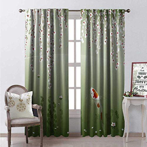 Koi Fish Window Curtain Fabric Japanese Koi Fish Painting Style Hanging Cherry Flowers Floating Leaves Drapes for Living Room W84 x L108 Green Orange White ()