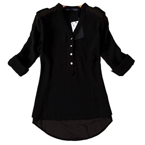QIYUN.Z Camicia Camicetta di Chiffon Allentato di Colore Solido Donne Maniche Lunghe Cime Tasto V-Collo