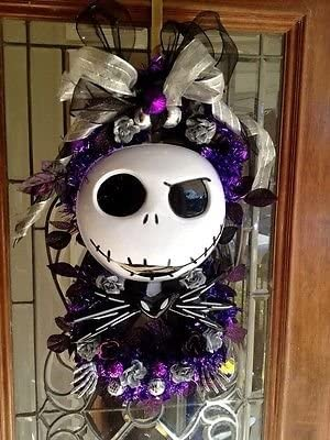 nightmare before christmas mardi gras fat tuedsay halloween wreath decor door decorations