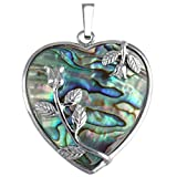 SUNYIK Heart Abalone Shell with Silver Plated Rose Pendant Necklace