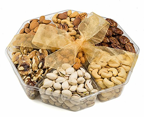 Farm Fresh Nuts, 7 Variety Nuts Gift Basket, Freshly Roasted Nut Tray Assortment, Gourmet Gift Platter, 7-Section, (10x10)