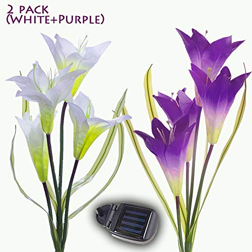 (MYGOTO Solar Garden Stake Lights Outdoor, 2 Pack Solar Powered Lights, Lily Flower Lights, Multi-Color Changing LED Solar Decorative Lights for Garden Patio Yard Lawn Path (White + Purple))