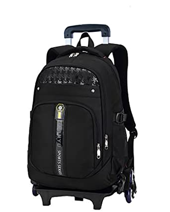 b68f37bb60 Meetbelify Trolley School Bags Backpack For Boys With Six Wheels Climbing  Stairs Black
