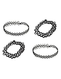 4 Pieces Henna Tattoo Set | 2 Necklaces + 2 Bracelets | Black Choker Set | Tatto Henna Jewelry Neckless and Bracelet Set of 4 Pieces | Black Vintage Gothic Stretch (Elastic) Choker Collar Necklace + Bracelet | 80´s 90´s + Free Shipping + 30 Day No Risk Satisfaction Guarantee