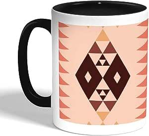 كوب سيراميك للقهوة بتصميم رسم تراثي ، اسود