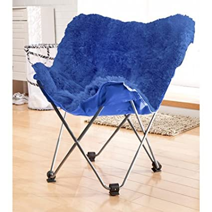 Incroyable Your Zone Lux Shag Butterfly Chair   Portable Seating Option   Folds For  Easy Storage (