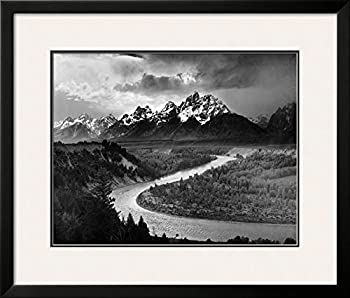 "Art.com Tetons and The Snake River Grand Teton National Park c.1942 by Ansel Adams Framed Art Print, 27"" H by 32"" W"