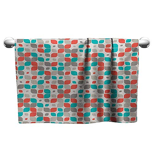 alisoso Geometric,Best Bath Towels Mosaic Motif with Traditional Fractal Forms Grid Graphic Print Bathroom Hand Towels Orange Turquoise Warm Taupe W 24