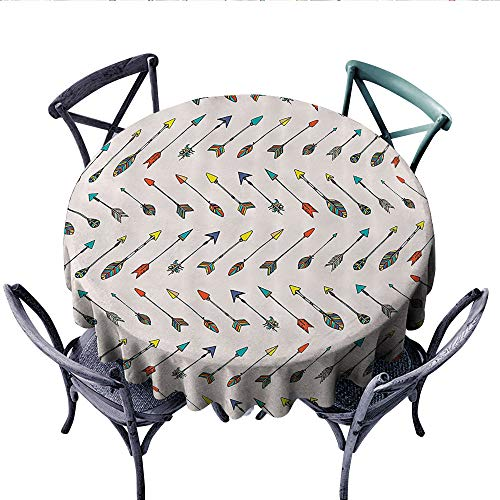 Arrow Decor Collection Washable Tablecloth Colored Arrowheads and Arrow Tails Pattern Decorative Art Image Table Cover for Kitchen (Round, 60 Inch, Orange Yellow Turquoise) ()