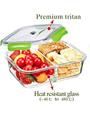 PREMIUM QUALITY 1040 ML 2 Compartment Glass Lunch box/Food Storage Containers - Meal Prep BPA Free Lunch Containers with Smart For Snap Locking Tritan Lid Guarantee 100% Airtight Leakproof (Green)