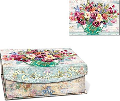 Punch Studio Fresh Flowers Medium Flap Nesting Boxes -- Set of 3