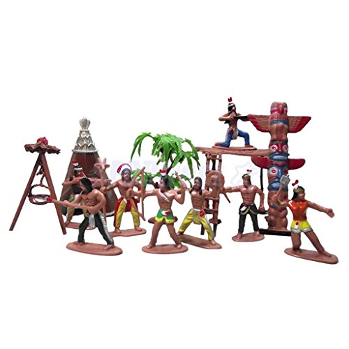 Shalleen 1 Set People Figures Wild West Indian Model Cowboy Kids Scene - Module Space Tent