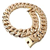 Mens Stainless Steel 27'' 31MM Large Heavy Charm Hip Hop Gold Tone Cuban Curb Chain Link Necklace