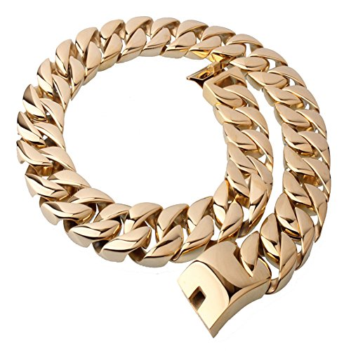 Mens Stainless Steel 27'' 31MM Large Heavy Charm Hip Hop Gold Tone Cuban Curb Chain Link Necklace by Loveshine