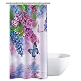 Pink and Purple Shower Curtain Riyidecor Blue Lilac Butterfly Up Lake Shower Curtain Set 36x72 Inch Pink Butterfly Purple Wild Flower Teen Girls Spring Decor Fabric Set Polyester Waterproof Free Plastic 7-Pack Hooks...