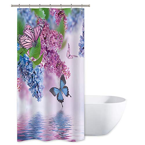 Riyidecor Blue Lilac Butterfly Up Lake Shower Curtain Set 36x72 Inch Pink Butterfly Purple Wild Flower Teen Girls Spring Decor Fabric Set Polyester Waterproof Plastic 7 Pack Hook ()