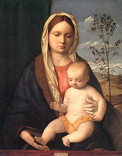 手描き-キャンバスの油絵 - Madonna and Child ルネッサンス Giovanni Bellini 芸術 作品 洋画 ウォールアートデコレーション -サイズ11 B07H8X1GVZ  36 x 48 インチ