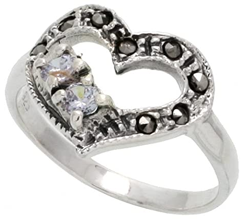 Sterling Silver Marcasite Heart Cut Out Ring, w/ Brilliant Cut CZ Stones, 9/16
