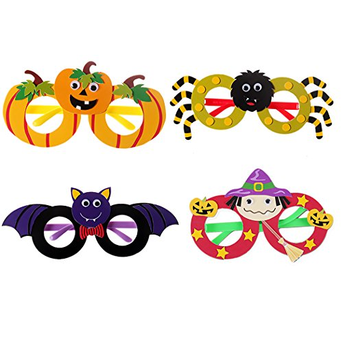 FunPa 4 Pairs Halloween Party Glasses DIY Pumpkin Bat Spider Witch Decor Funny Glasses Costume Glasses for -