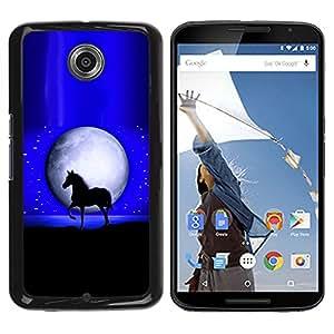 iBinBang / Funda Carcasa Cover Skin Case - Luna Mustang caballo del semental Noche Negro - Motorola NEXUS 6 / X / Moto X Pro