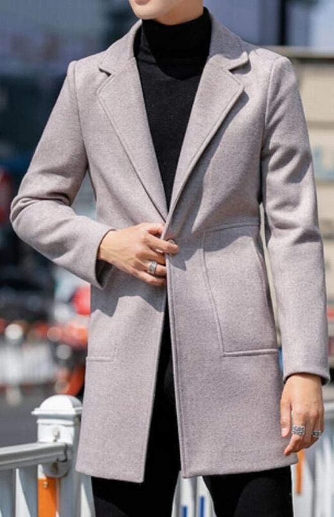 BOBOYU Men Lapel Collar Winter Pure Color Mid Length Trendy Regular Fit Wool Outerwear Coats