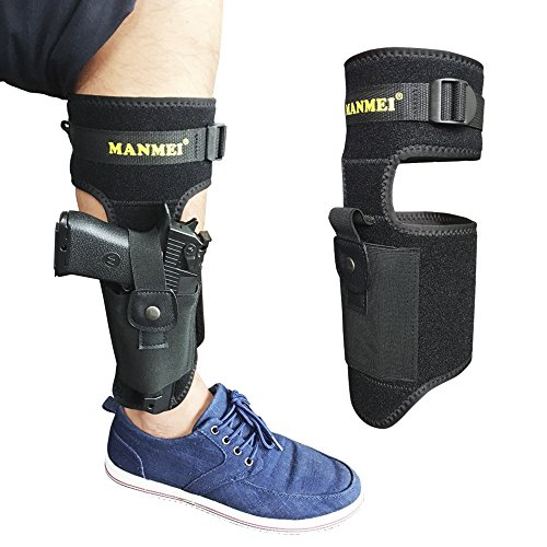 UPGRADED Ankle Gun Holster Leg Concealed Carry Tactical Pistol Handgun Magazine Pouch Fit Glock 17 19 43 27 42 26 36 Sig 290 P238 Sr40c Taurus lc9s Bodyguard 380 Ruger SP101 LCP LC9 M-1911 IWB Special (Case Double Universal Mag)