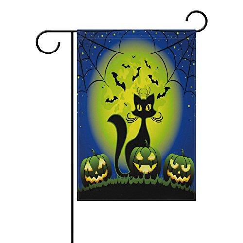 Naanle Black Cat Halloween Pumpkin Double Sided Polyester Ga