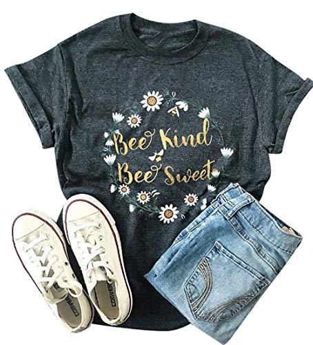 Bee Kind Bee Sweet Tshirts Bee Kind Tshirts Letter Print Tee Shirts for Women Cute Graphic Print Tee Shirts with Sayings Size XL (Dark -