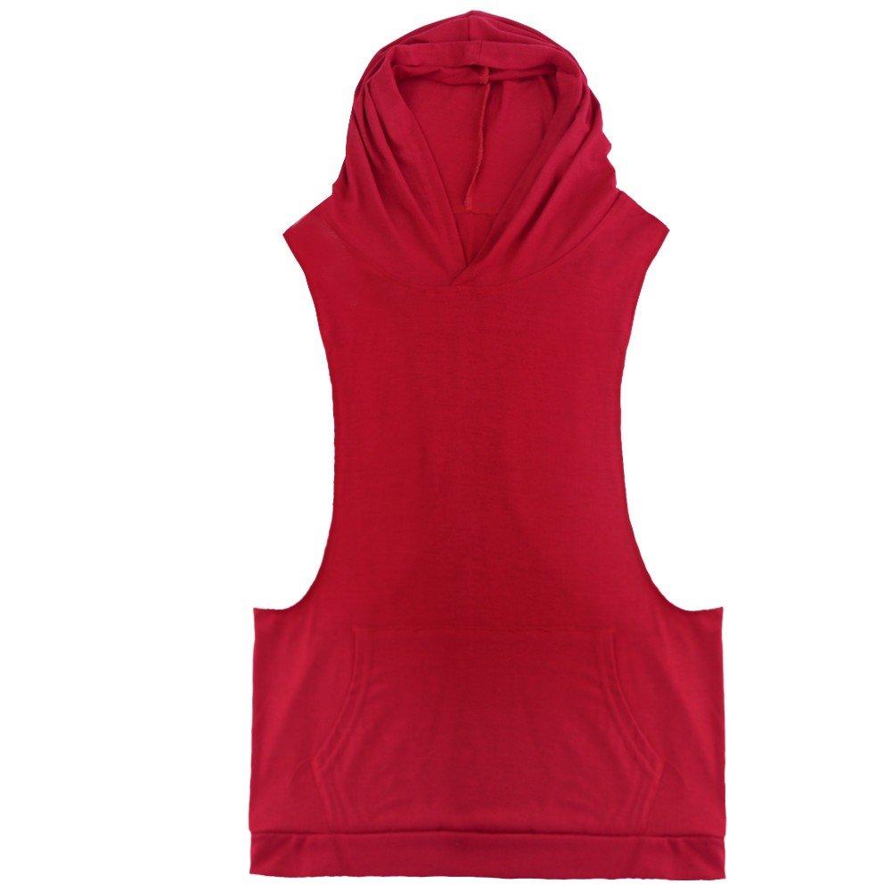 Iffee Men's Sleeveless Hoodie T-Shirt Hooded Tank Top Cotton Hoodies Tee